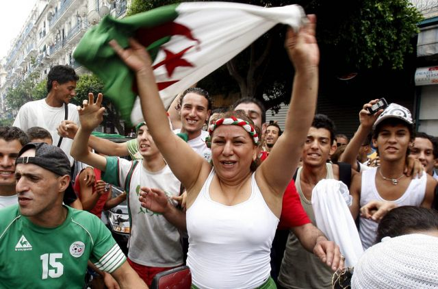 Algeria fans celebrate win over zambia